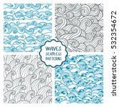 waves seamless pattern. set of... | Shutterstock .eps vector #532354672