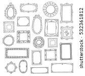 hand drawn frames set. doodle... | Shutterstock .eps vector #532361812