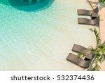 beach chairs in luxury swimming ... | Shutterstock . vector #532374436