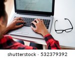 programmer typing new lines of... | Shutterstock . vector #532379392