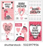 set of 6 cute creative cards... | Shutterstock .eps vector #532397956