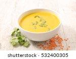 lentils soup with curcuma | Shutterstock . vector #532400305
