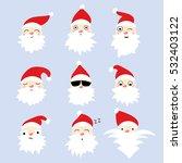 christmas set of 9 faces santa...   Shutterstock .eps vector #532403122