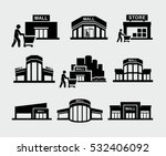vector mall building with... | Shutterstock .eps vector #532406092