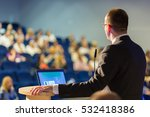 speaker giving a talk on... | Shutterstock . vector #532418386