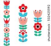finnish inspired long folk art... | Shutterstock .eps vector #532425592