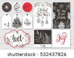 merry christmas invitation set. ... | Shutterstock .eps vector #532437826