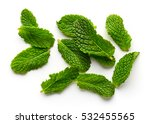 mint leaves isolated on white... | Shutterstock . vector #532455565