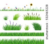 Green seamless grass elemnts. Lawn grass, reed and sunflower. Flying butterflies and flowers. Horizontal seamless elements.