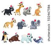 funny christmas animals. vector ... | Shutterstock .eps vector #532467586
