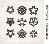 set of ornate vector mandala... | Shutterstock .eps vector #532473235