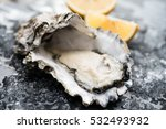 oysters on the ice and lemon | Shutterstock . vector #532493932