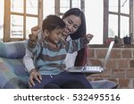 little boy and his mother... | Shutterstock . vector #532495516