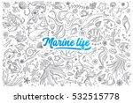 Hand Drawn Set Of Marine Life...