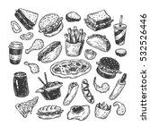 Fast Food Set. Hand Drawn...