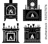 fireplaces silhouettes isolated ... | Shutterstock .eps vector #532527076