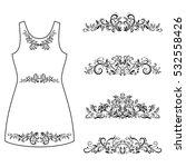 set outline floral patterns ... | Shutterstock . vector #532558426