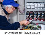 electrician at work with an... | Shutterstock . vector #532588195