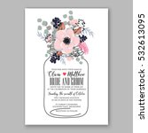 wedding invitation floral... | Shutterstock .eps vector #532613095