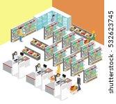 isometric interior of grocery... | Shutterstock .eps vector #532623745