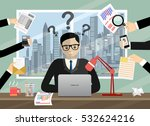 person at work multitasking ... | Shutterstock .eps vector #532624216