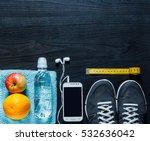 sport equipment on wooden... | Shutterstock . vector #532636042