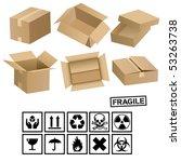 carton cargo boxes and signs | Shutterstock .eps vector #53263738