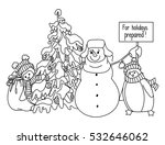 funny snowman and penguin hand... | Shutterstock .eps vector #532646062