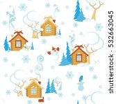 winter day in the countryside ... | Shutterstock .eps vector #532663045