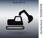 flat excavator icon. vector | Shutterstock .eps vector #532685338