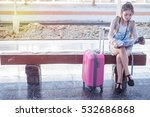 back side of traveler girl... | Shutterstock . vector #532686868