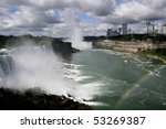 Niagara Falls by day with rainbow - stock photo