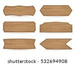 set of 6 shapes wooden sign... | Shutterstock .eps vector #532694908