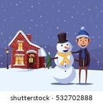 Merry Christmas House. Cartoon...