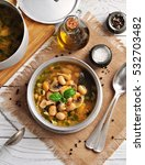 soup with mushrooms  corn flour ... | Shutterstock . vector #532703482