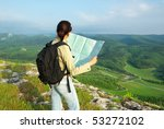 Girl Tourist In Mountain Read...