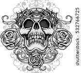gothic coat of arms with skull... | Shutterstock .eps vector #532766725