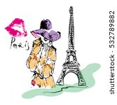 girl in a hat and trenchcoat ... | Shutterstock .eps vector #532789882