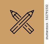 two pencils icon. flat design