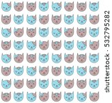 cute kitten faces doodles... | Shutterstock .eps vector #532795282