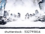 snowing in the ruins of the... | Shutterstock . vector #532795816