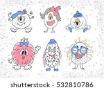 hand drawn funny monsters. set...