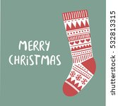 knitted sock with christmas... | Shutterstock .eps vector #532813315