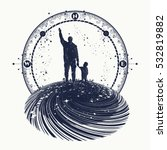 father and son tattoo art.... | Shutterstock .eps vector #532819882