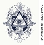 all seeing eye pyramid  tattoo... | Shutterstock .eps vector #532819972