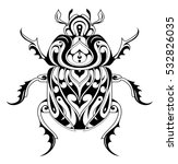 beetle bug tattoo drawing.... | Shutterstock .eps vector #532826035