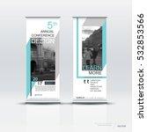 blue roll up banner design... | Shutterstock .eps vector #532853566
