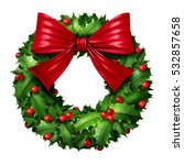 classic wreath with red silk... | Shutterstock . vector #532857658