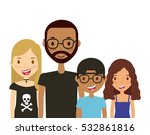 cartoon young couple and kids... | Shutterstock .eps vector #532861816
