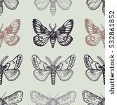 seamless pattern with moths in... | Shutterstock .eps vector #532861852